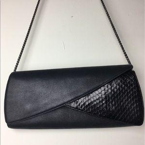 RODO Italy black leather clutch snakeskin chain